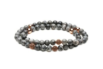 [:ru]Двойной браслет из серой яшмы от Mc Gregor jewelry[:][:en]Double bracelet from natural grey jasper[:]