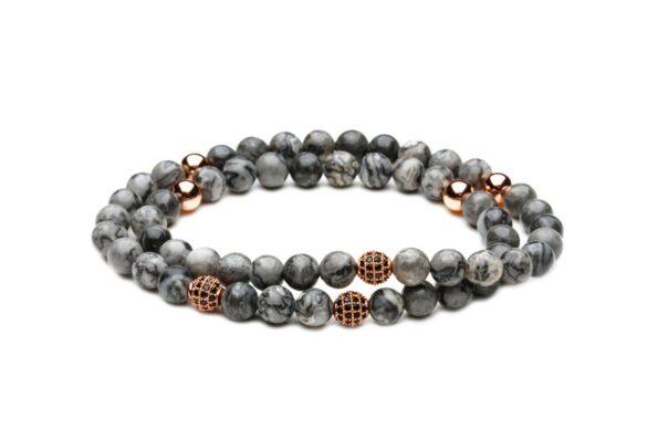 Двойной браслет из серой яшмы от Mc Gregor jewelry