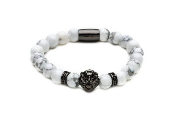 [:ru]Браслет из говлита со львом от Mc Gregor jewelry[:][:en]Bracelet from natural white howlite[:]