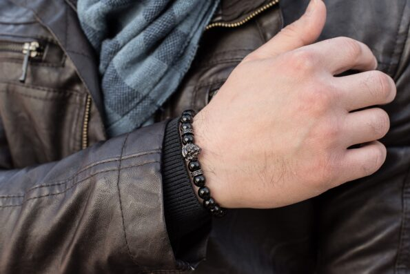 Мужской браслет из натурального агата