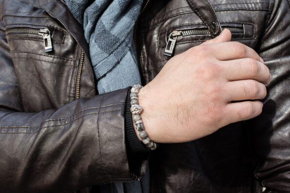 Mc Gregor Jewelry серая яшма, браслет из натуральных камней