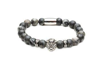 Браслет из натуральной серой яшмы со львом от Mc Gregor jewelry