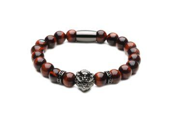 [:ru]Браслет со львом из натурального камня тигровый глаз[:][:en]Bracelet from natural tiger eye with black lion[:]